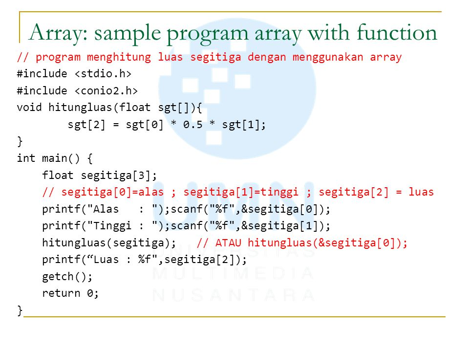 Array: sample program array with function