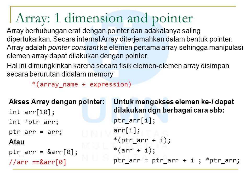 Array: 1 dimension and pointer