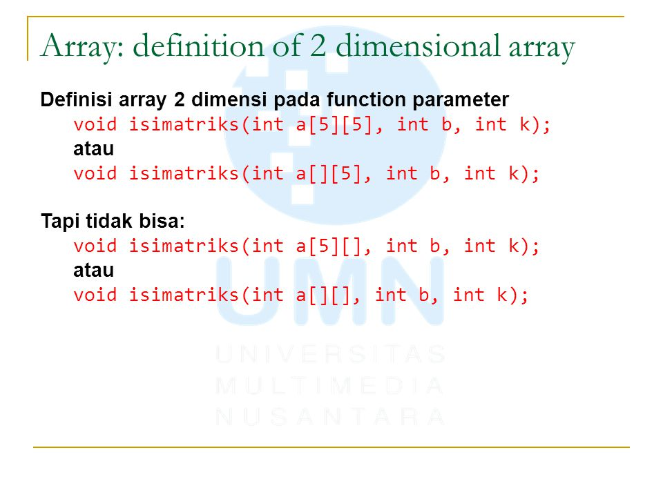 Array: definition of 2 dimensional array