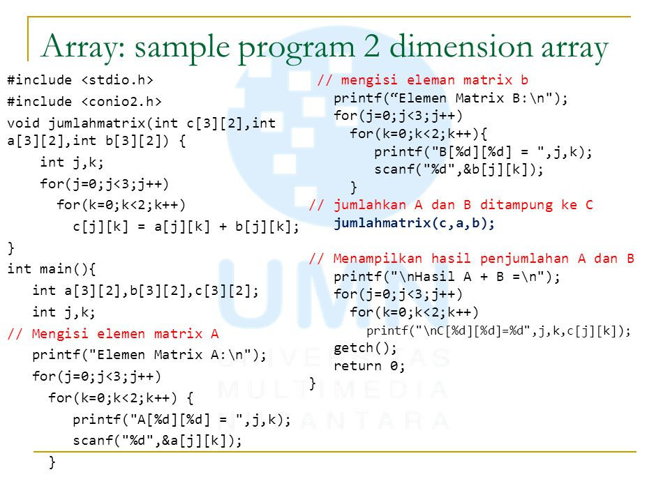 Array: sample program 2 dimension array
