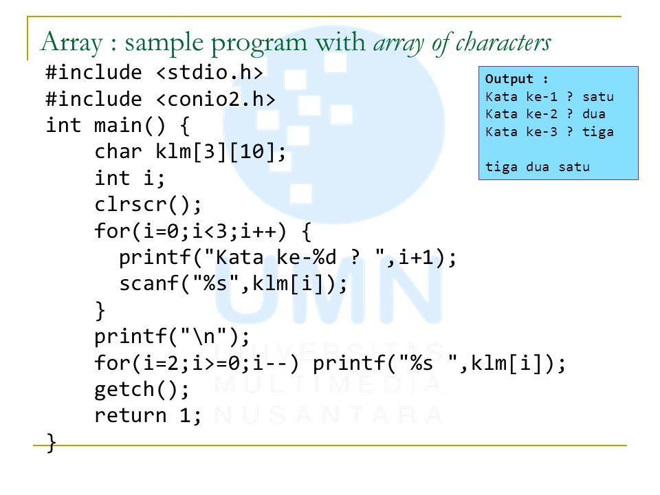 Array : sample program with array of characters