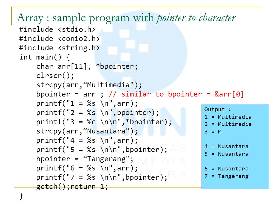 Array : sample program with pointer to character