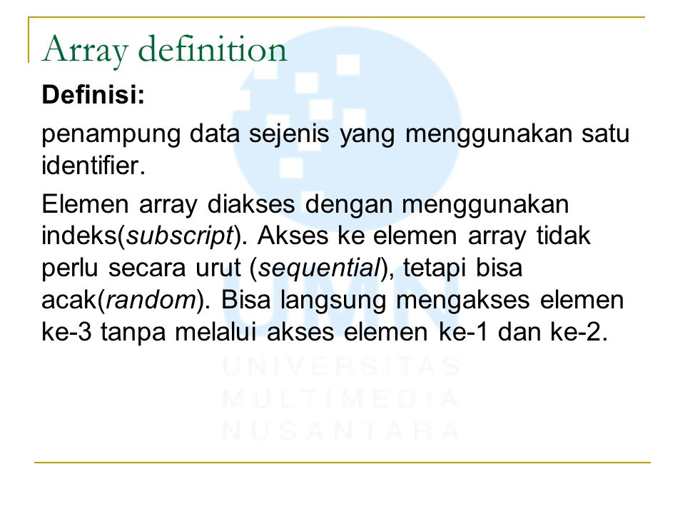Array definition Definisi: