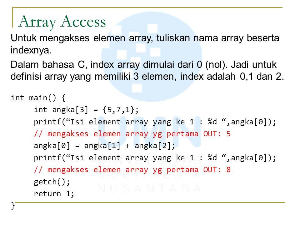 Array Access Untuk mengakses elemen array, tuliskan nama array beserta indexnya.