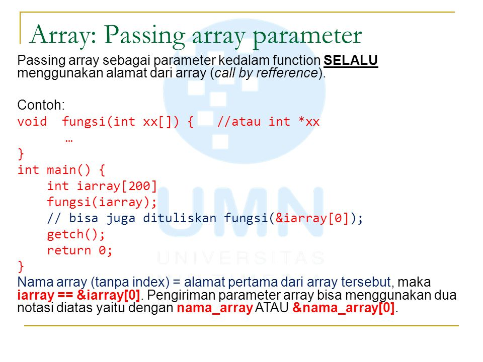 Array: Passing array parameter