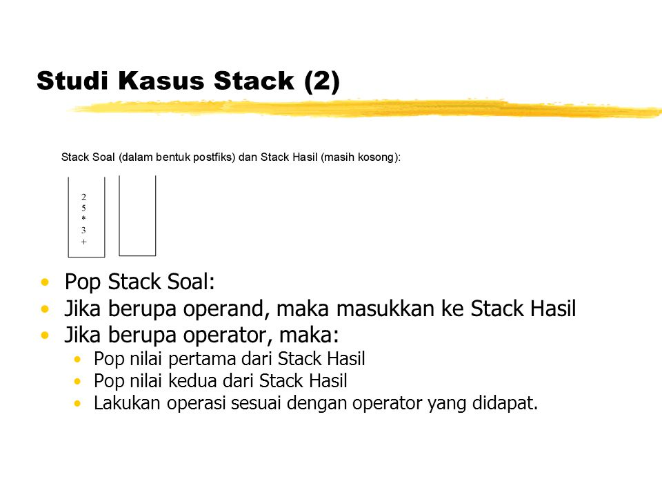 Studi Kasus Stack (2) Pop Stack Soal: