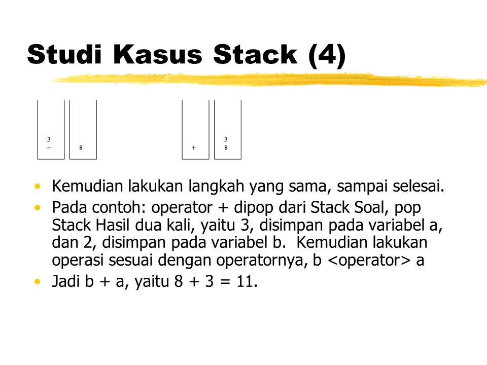 Studi Kasus Stack (4) Kemudian lakukan langkah yang sama, sampai selesai.