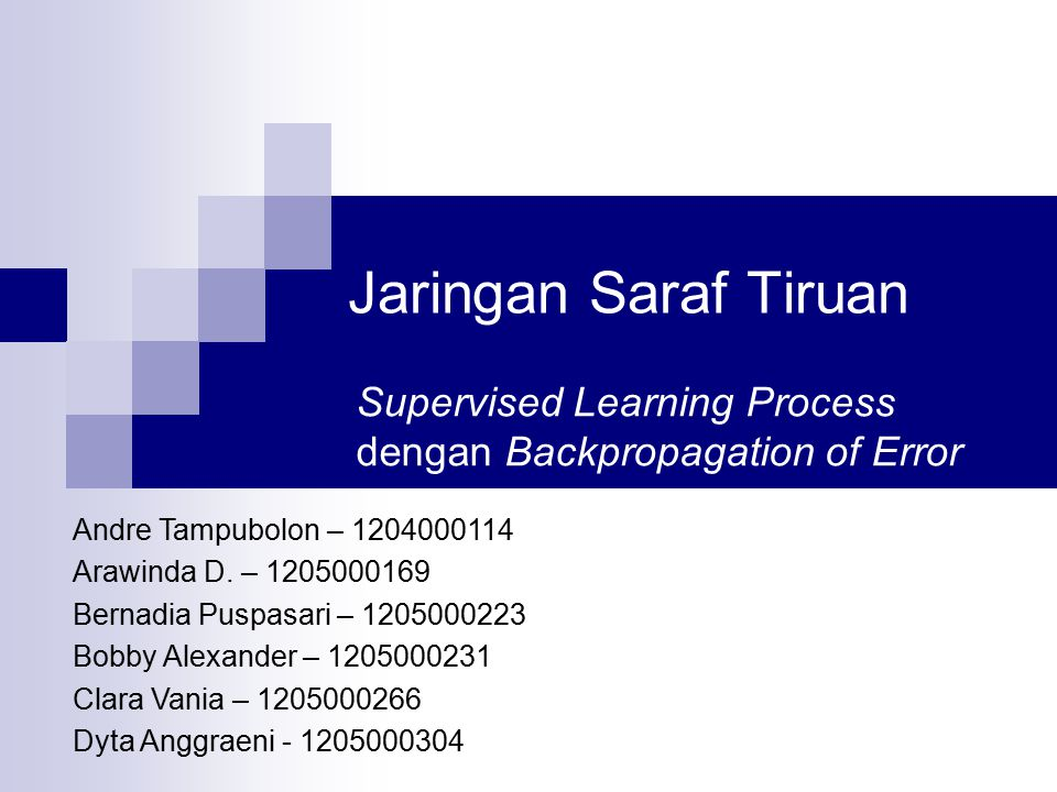 Supervised Learning Process dengan Backpropagation of Error