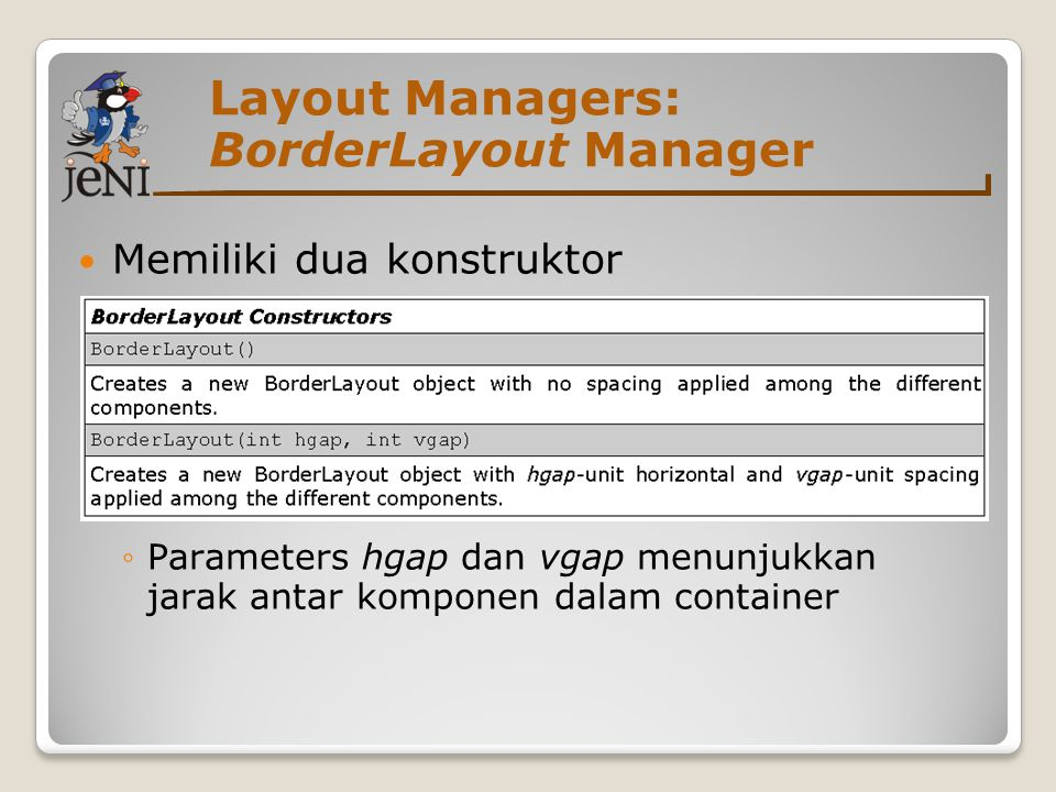 Layout Managers: BorderLayout Manager