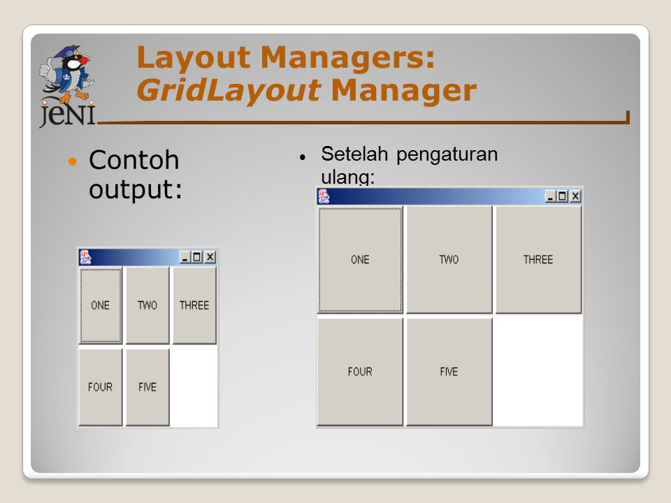 Layout Managers: GridLayout Manager