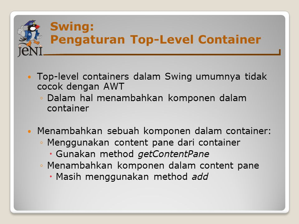 Swing: Pengaturan Top-Level Container