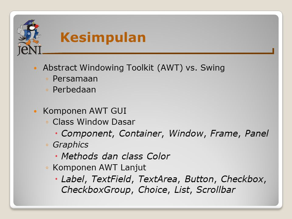 Kesimpulan Component, Container, Window, Frame, Panel