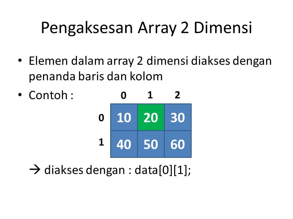 Pengaksesan Array 2 Dimensi