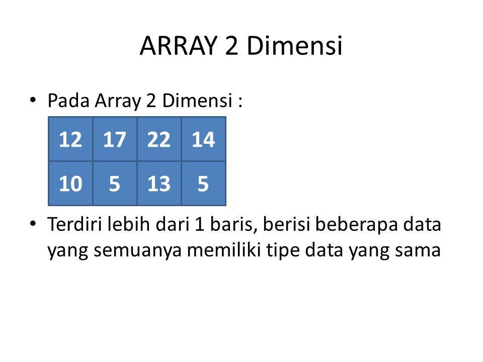 ARRAY 2 Dimensi 12 17 22 14 10 5 13 5 Pada Array 2 Dimensi :