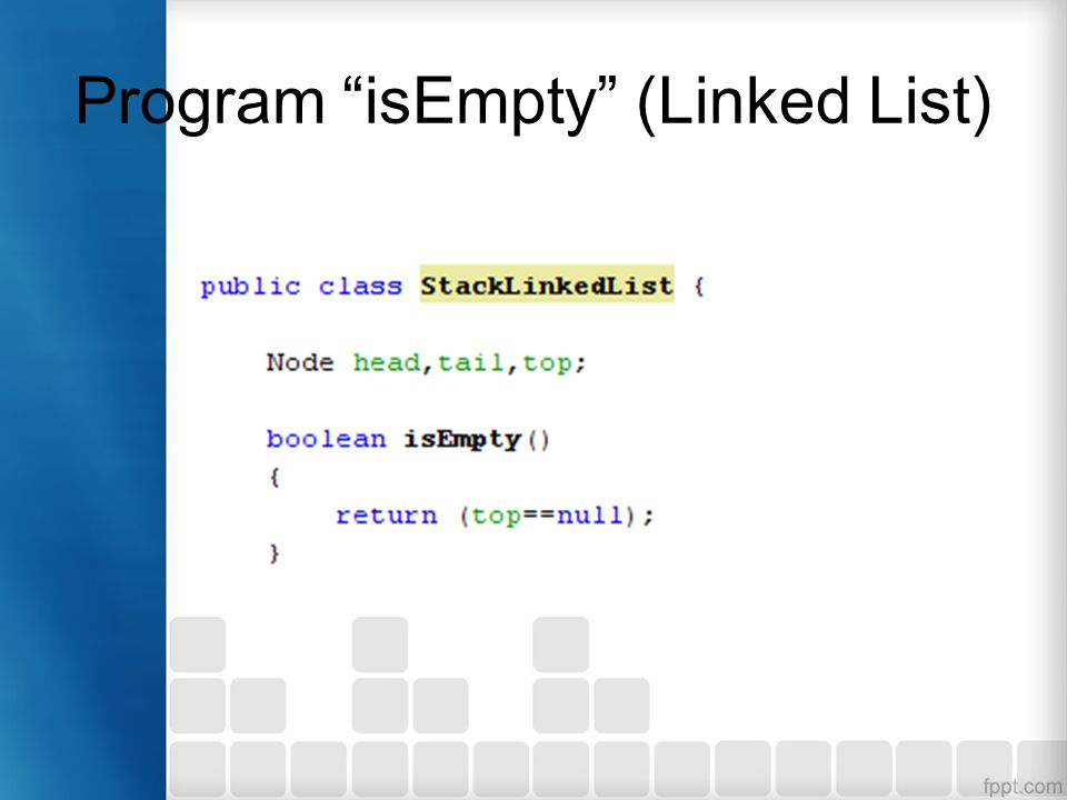 Program isEmpty (Linked List)