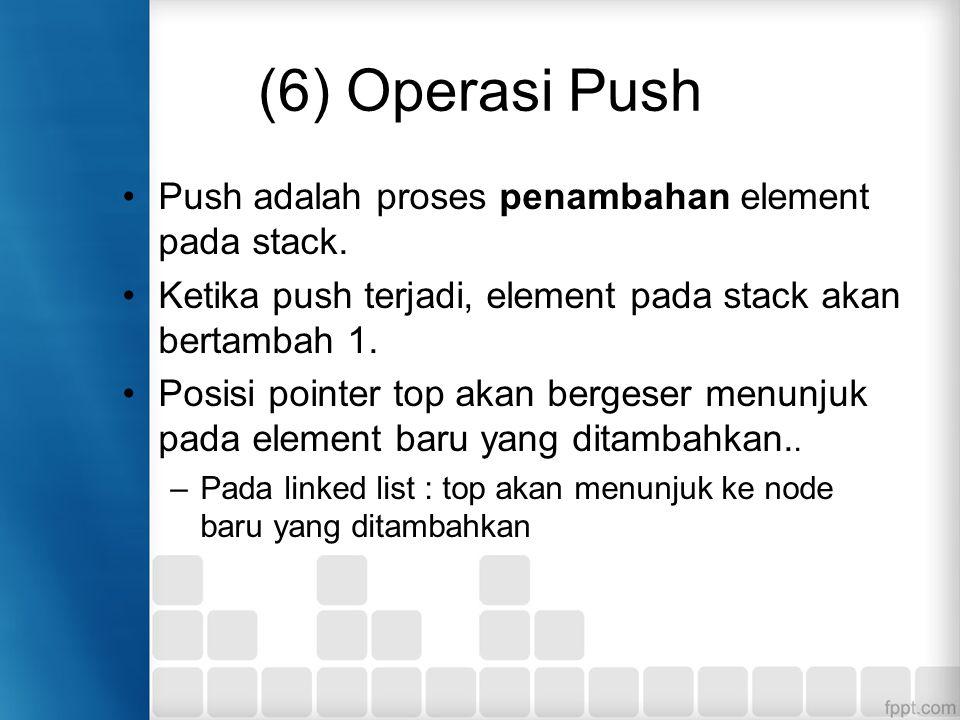 (6) Operasi Push Push adalah proses penambahan element pada stack.