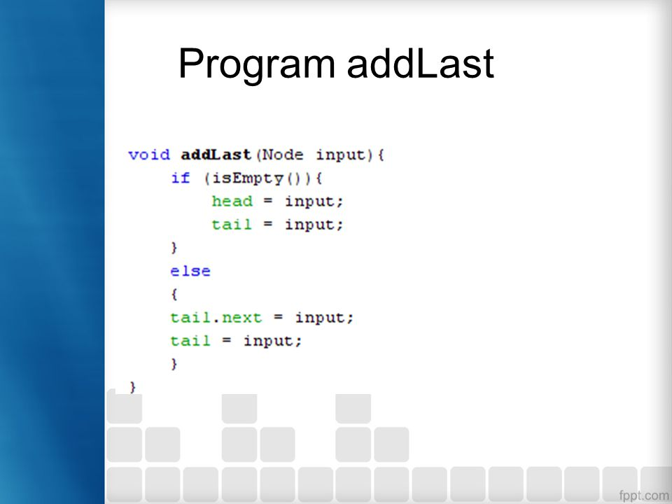 Program addLast