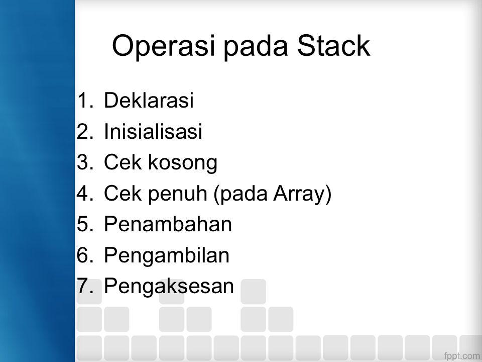 Operasi pada Stack Deklarasi Inisialisasi Cek kosong