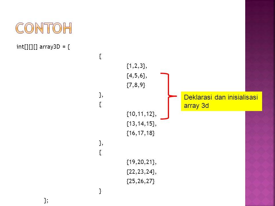 contoh Deklarasi dan inisialisasi array 3d