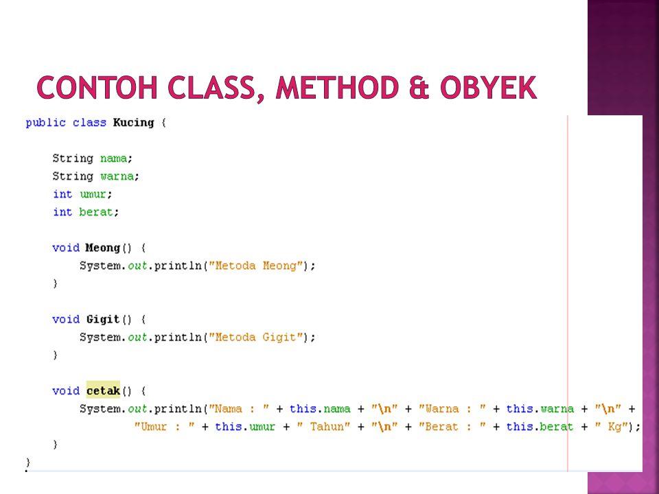 Contoh class, method & obyek