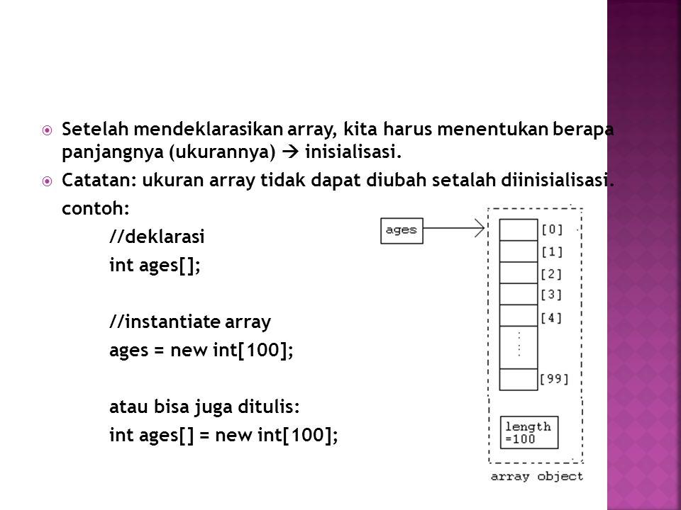 Setelah mendeklarasikan array, kita harus menentukan berapa panjangnya (ukurannya)  inisialisasi.