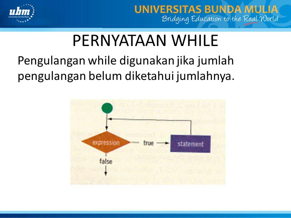 PERNYATAAN WHILE Pengulangan while digunakan jika jumlah pengulangan belum diketahui jumlahnya.