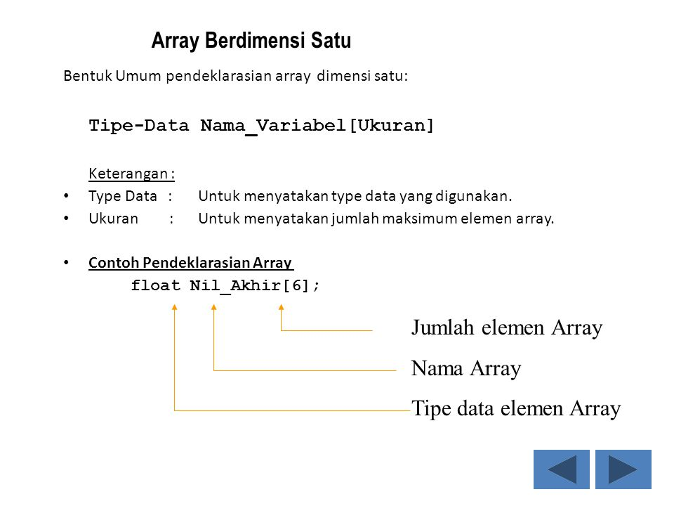 Array Berdimensi Satu Jumlah elemen Array Nama Array