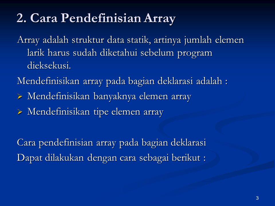 2. Cara Pendefinisian Array