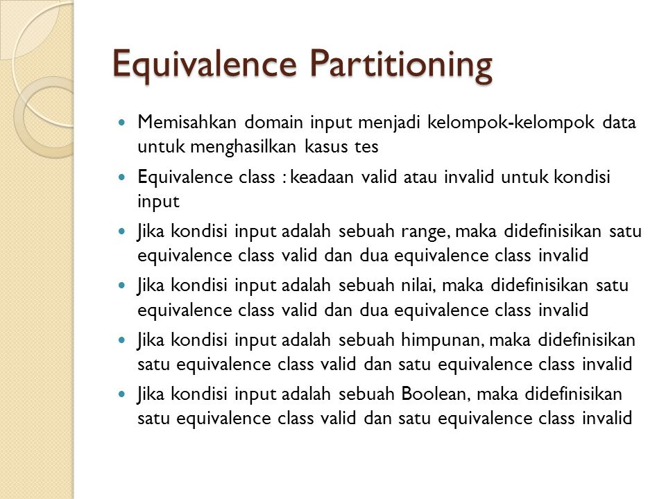 Equivalence Partitioning