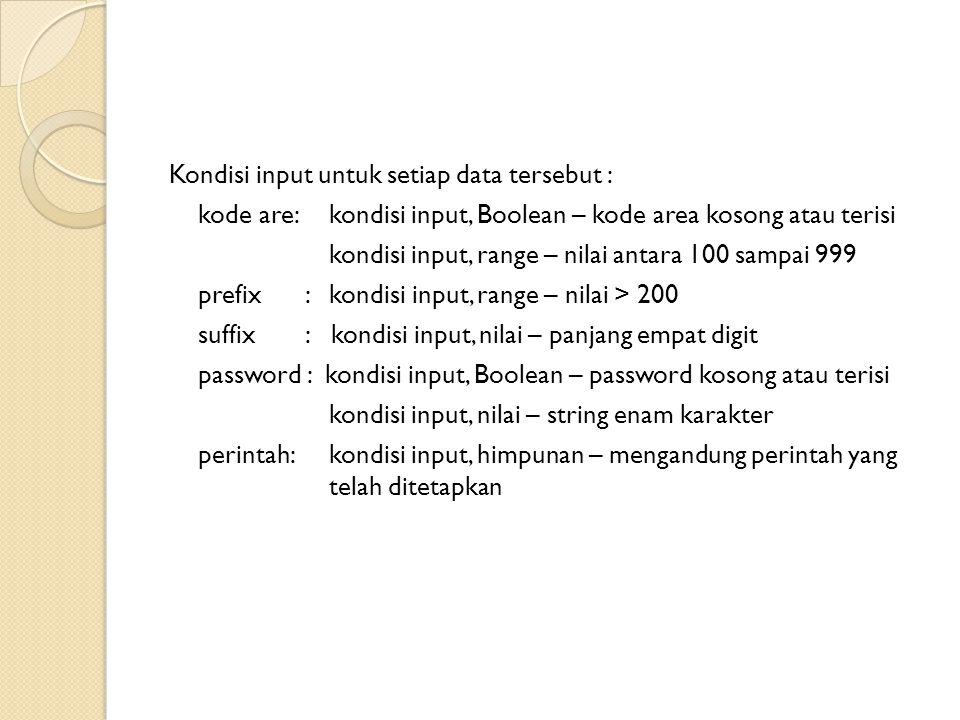 Kondisi input untuk setiap data tersebut :