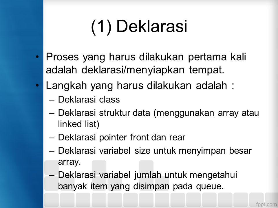 (1) Deklarasi Proses yang harus dilakukan pertama kali adalah deklarasi/menyiapkan tempat. Langkah yang harus dilakukan adalah :