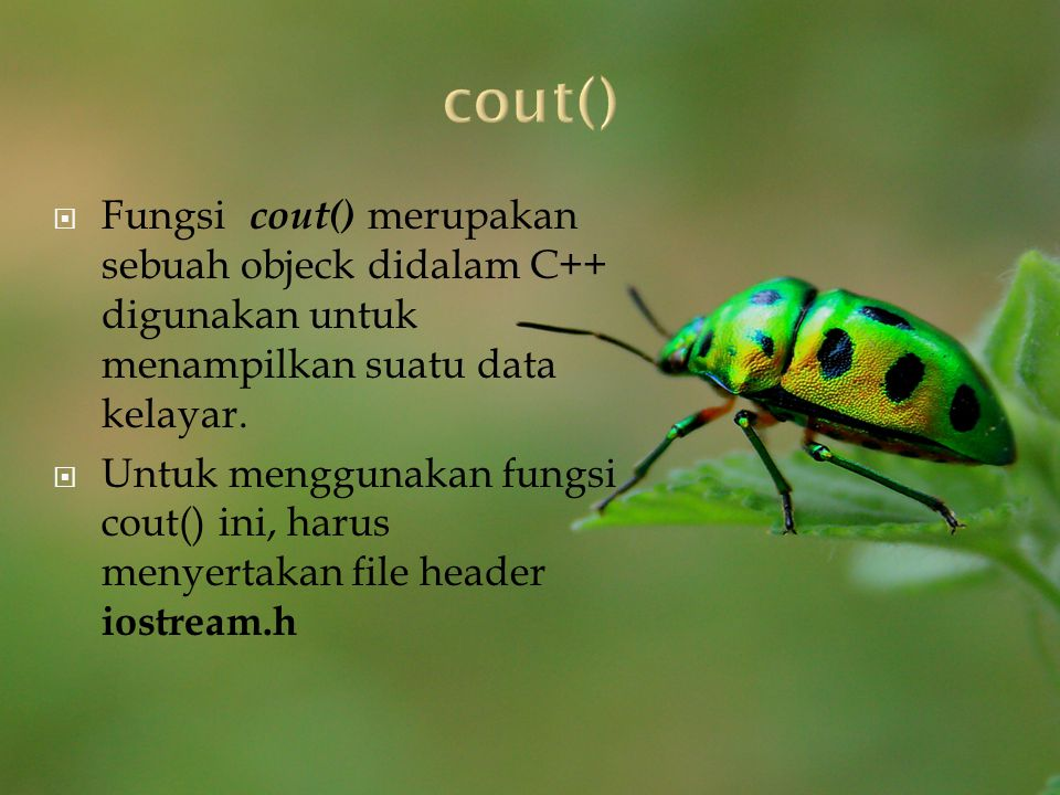 cout() Fungsi cout() merupakan sebuah objeck didalam C++ digunakan untuk menampilkan suatu data kelayar.
