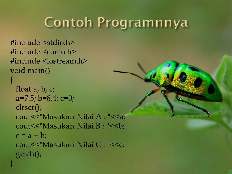 Contoh Programnnya #include <stdio.h> #include <conio.h>