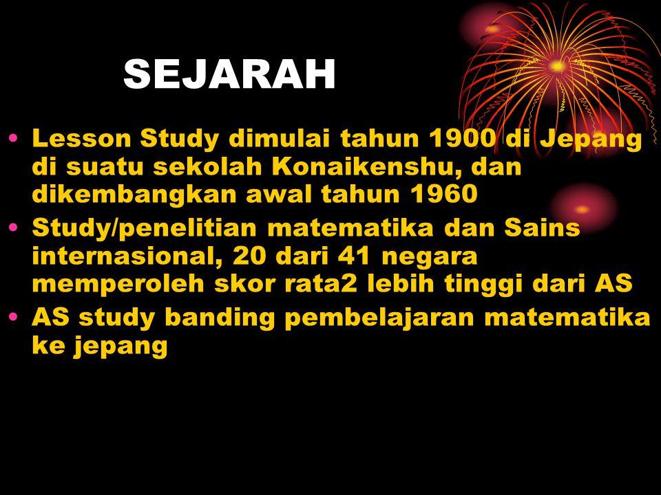 SEJARAH Lesson Study dimulai tahun 1900 di Jepang di suatu sekolah Konaikenshu, dan dikembangkan awal tahun 1960.