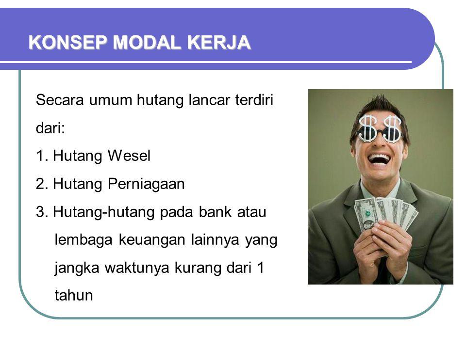 KONSEP MODAL KERJA Secara umum hutang lancar terdiri dari: