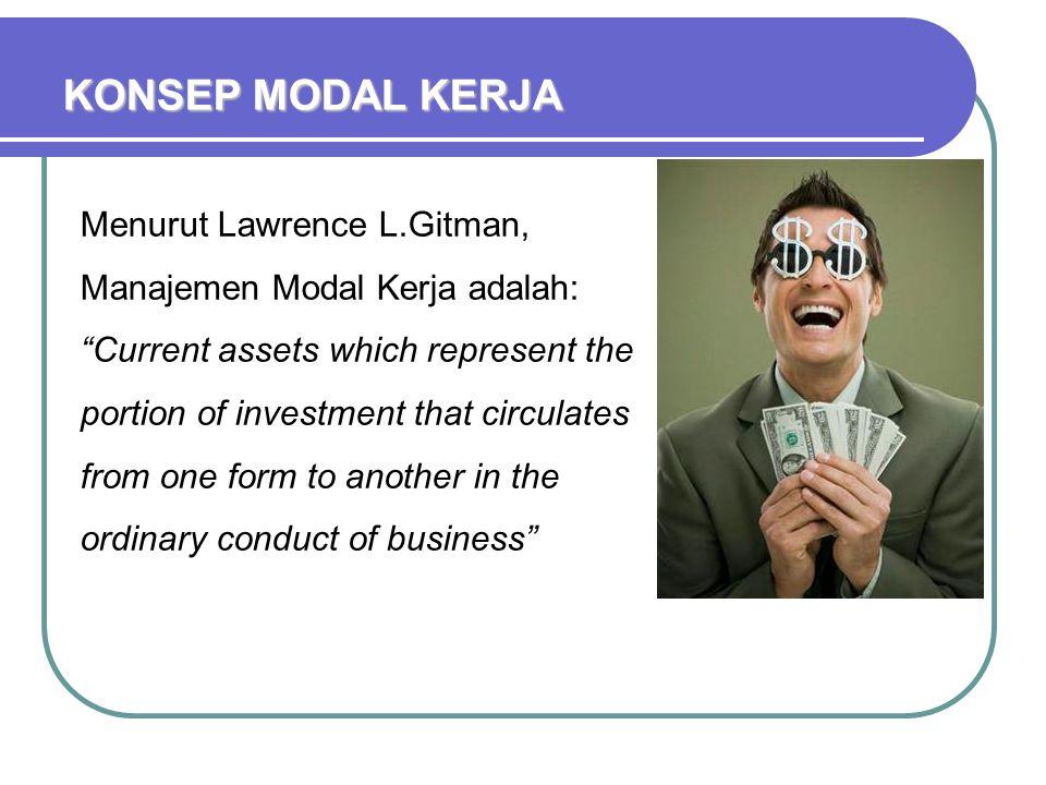 KONSEP MODAL KERJA Menurut Lawrence L.Gitman, Manajemen Modal Kerja adalah: