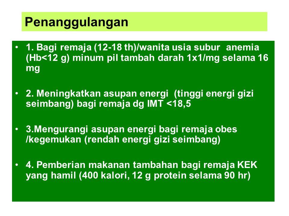 Penanggulangan 1. Bagi remaja (12-18 th)/wanita usia subur anemia (Hb<12 g) minum pil tambah darah 1x1/mg selama 16 mg.