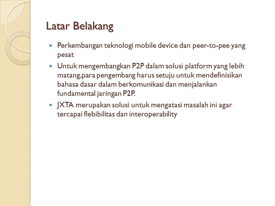 Latar Belakang Perkembangan teknologi mobile device dan peer-to-pee yang pesat.