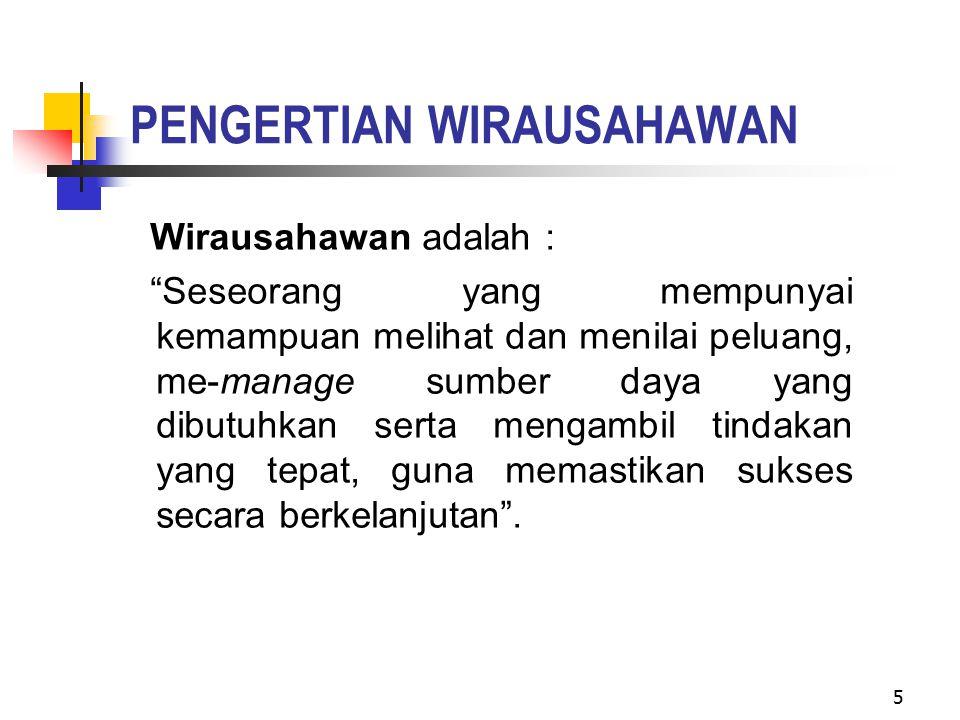 PENGERTIAN WIRAUSAHAWAN