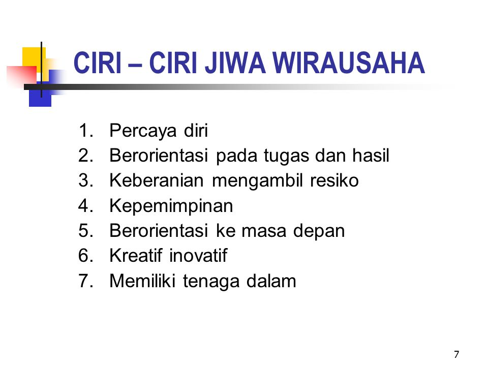 CIRI – CIRI JIWA WIRAUSAHA