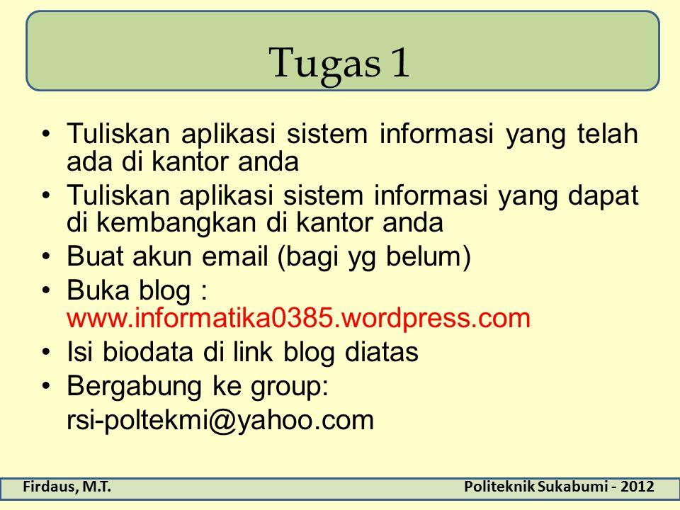 Tugas 1 Tuliskan aplikasi sistem informasi yang telah ada di kantor anda. Tuliskan aplikasi sistem informasi yang dapat di kembangkan di kantor anda.