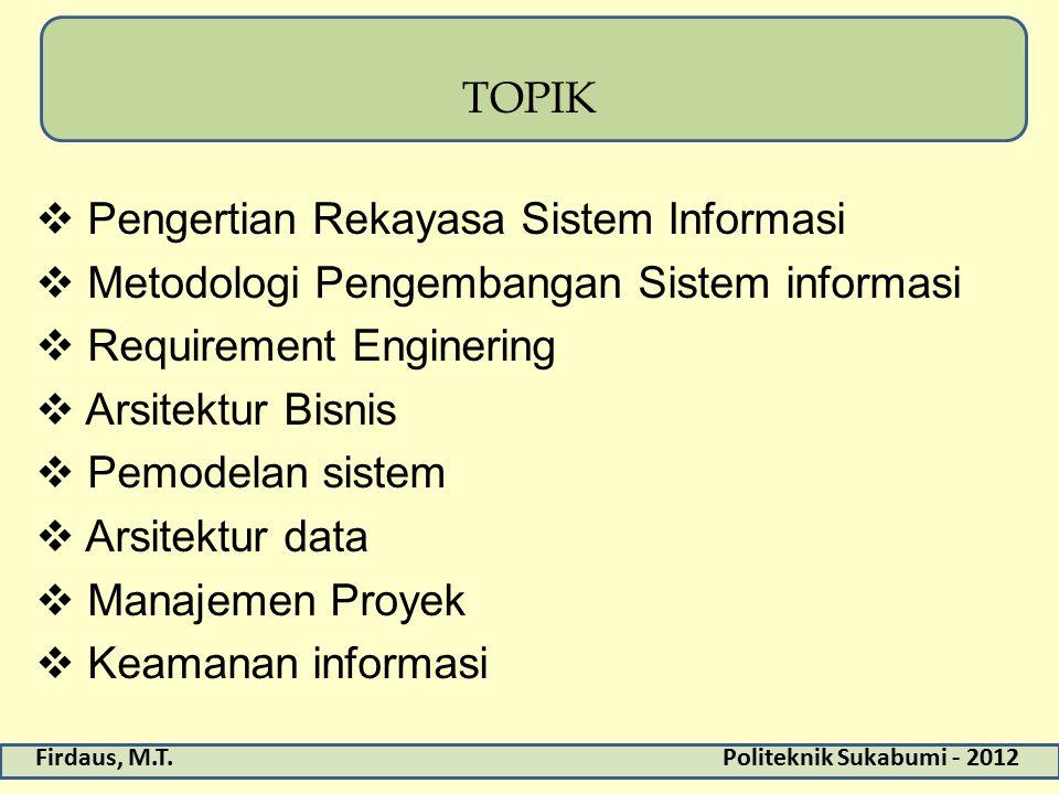 TOPIK Pengertian Rekayasa Sistem Informasi. Metodologi Pengembangan Sistem informasi. Requirement Enginering.