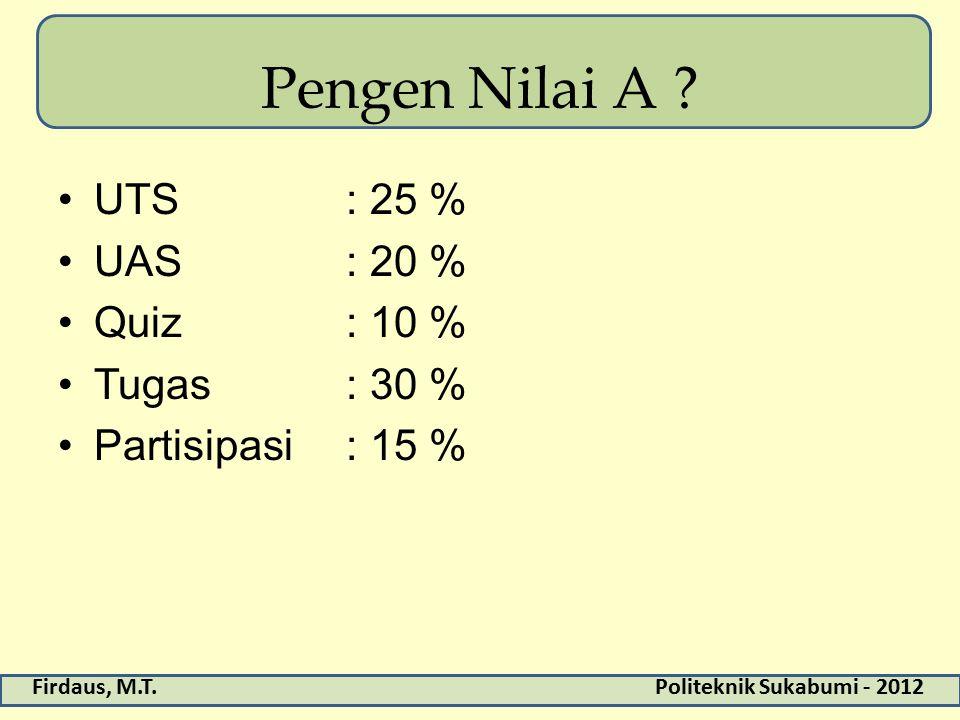 Pengen Nilai A UTS : 25 % UAS : 20 % Quiz : 10 % Tugas : 30 %
