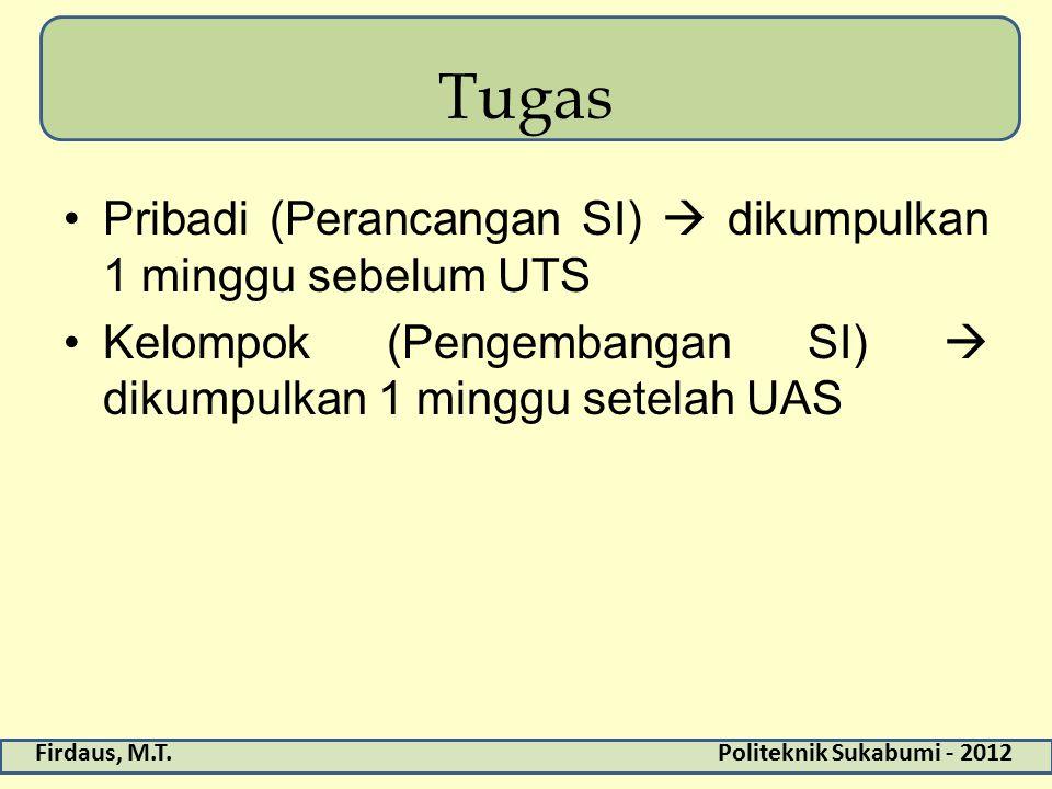 Tugas Pribadi (Perancangan SI)  dikumpulkan 1 minggu sebelum UTS