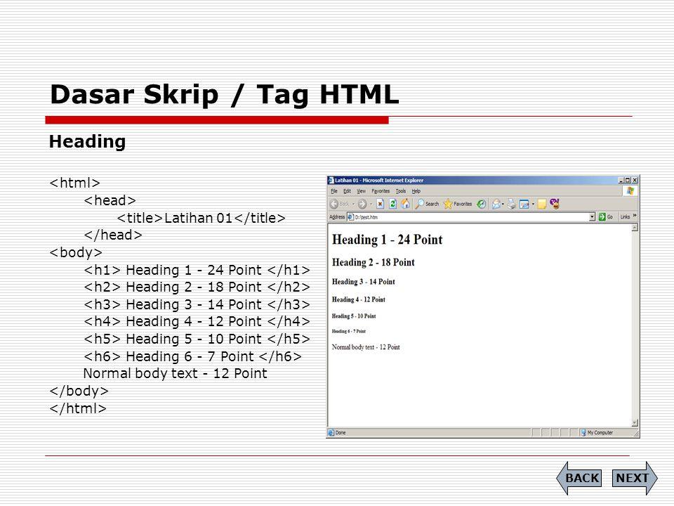 Dasar Skrip / Tag HTML Heading <html> <head>