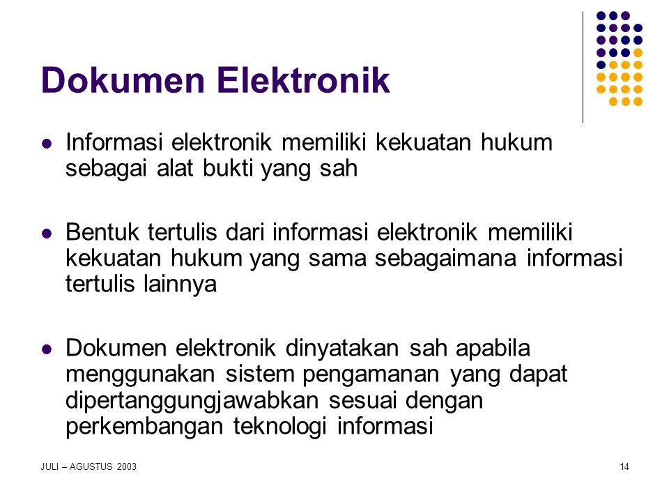 Dokumen Elektronik Informasi elektronik memiliki kekuatan hukum sebagai alat bukti yang sah.