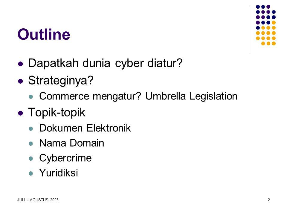 Outline Dapatkah dunia cyber diatur Strateginya Topik-topik