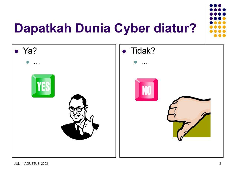 Dapatkah Dunia Cyber diatur