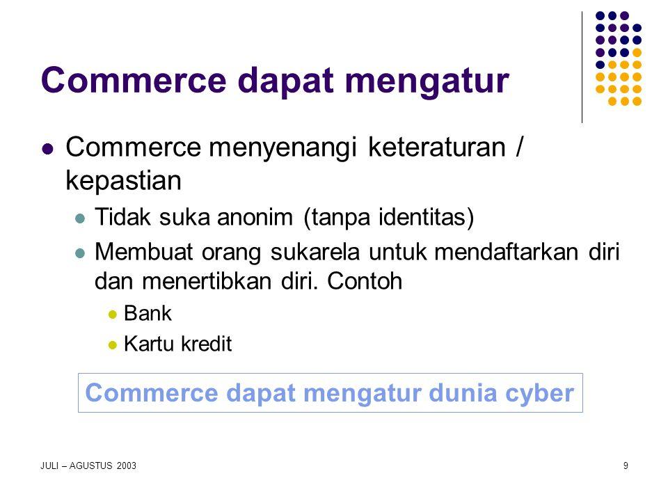 Commerce dapat mengatur