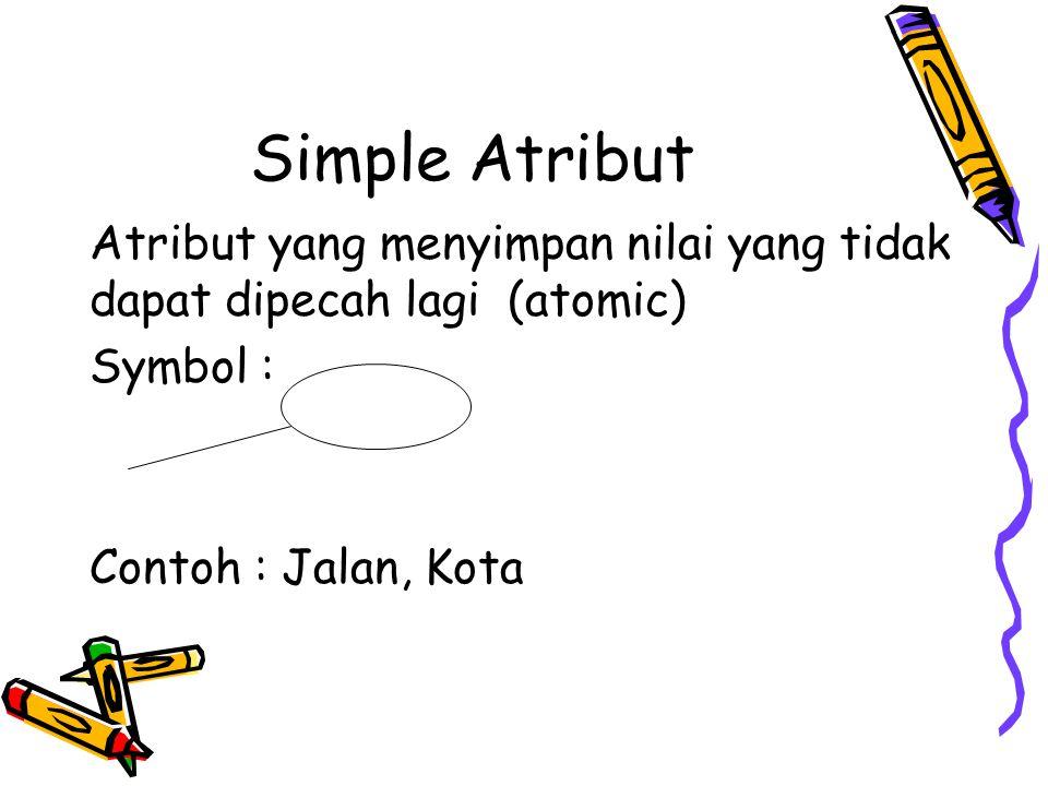 Simple Atribut Atribut yang menyimpan nilai yang tidak dapat dipecah lagi (atomic) Symbol : Contoh : Jalan, Kota.